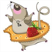 dancing mouse cartoon character wearing cracker tutu with strawberry - stock illustration