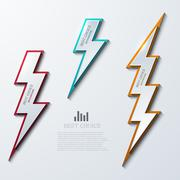 Vector lightning bolt banners set. 3 variants. - stock illustration