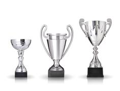 three different kind of silver trophies. isolated on white background - stock photo