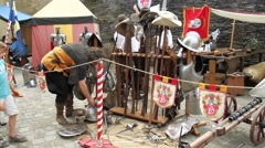 VIANDEN, THE LUXEMBOURG - JULY 27 2014: Vianden Castle, Medieval Festival. Stock Footage