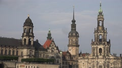 ULTRA HD 4K Beautiful Dresden church architecture german style Frauenkirche  day Stock Footage