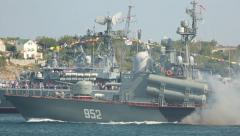 Exponential attack during a naval parade Stock Footage