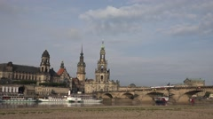 ULTRA HD 4K Dresden Frauenkirche Church Our Lady traffic car bridge iconic build Stock Footage