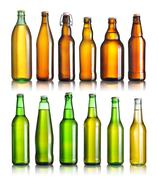 Stock Photo of set of full beer bottles with no labels isolated on white