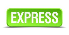 Express green 3d realistic square isolated button Stock Illustration