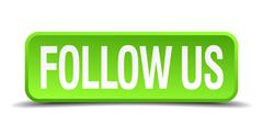 Follow us green 3d realistic square isolated button Stock Illustration