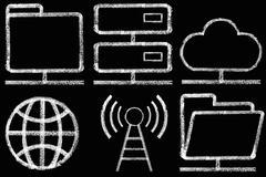 Sketched internet icons set Stock Illustration