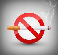 no smoking sign on gray background - stock illustration