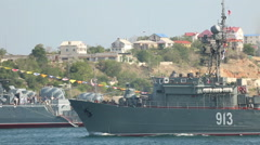 Missile boat out to sea Stock Footage