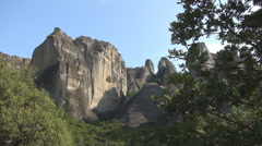 Meteora, Kalabaka, Monasteries built on top of the mountain, Ancient buildings Stock Footage