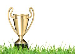 champion trophy on grass. isolated on white - stock photo