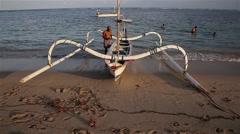 Jukung boat bali Stock Footage