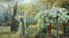 preparations for the wedding - a banquet hall (restaurant) - stock footage