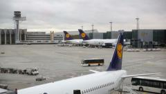 Airport, Frankfurt, Ground Vehicles moving together Stock Footage