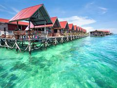 Bungalows on Mabul Island, Sabah, Malaysia Kuvituskuvat