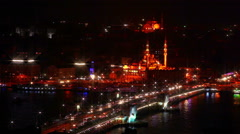 Galata bridge and night traffic Stock Footage