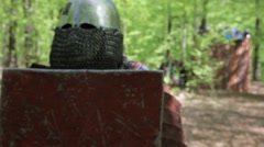Knights in full armor near the small tower. Stock Footage