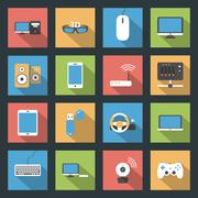 Computers, peripherals and network devices flat icons set Stock Illustration