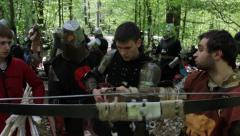 Preparation for firing of the crossbow Stock Footage