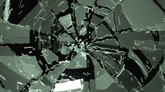 Glass breaking and destruction with slow motion. Alpha Stock Footage