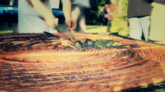 Sausages bbq grill party  festival Stock Footage