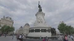Paris Place de la Republique Stock Footage