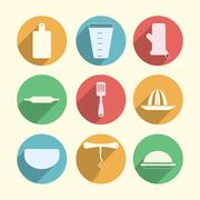 Flat circle icons for kitchenware - stock illustration