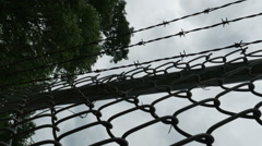 1997 Barbed Wire Fence Prison Boundary, HD Stock Footage