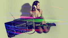 sexy woman ghettoblaster stereo retro - stock footage