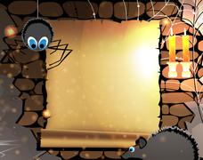 old parchment in a dark dungeon - stock illustration