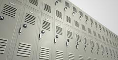 school lockers perspective - stock illustration