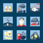 Set of pollution icons Stock Illustration