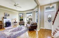 House interior with open floor plan. living room and entrance hall Stock Photos