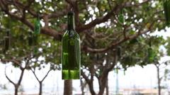 Decorative hanging bottle tree garden Stock Footage