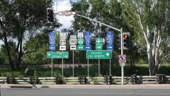 Route 66 Highway Signs with Traffic Stock Footage