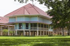 Beautiful landscape scene of marukhathaiyawan palace most dazzle wood palace  Stock Photos