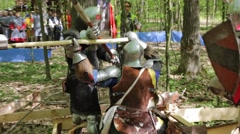Fight of the Knights in full armor Stock Footage