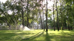 Watering green lawn - stock footage