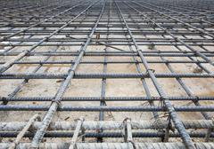 reinforce iron cage net for built buiilding floor in construction site - stock photo