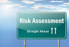 Stock Illustration of highway signpost risk assessment