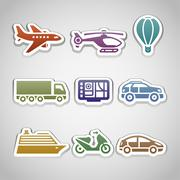 flat retro color stickers - set ten - stock illustration