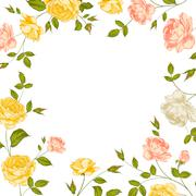 Floral frame perfect for wedding invitations. - stock illustration