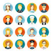 Profession avatar on circles - stock illustration