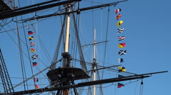 Stock Video Footage of Flags on a Tall Ship