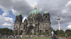 Stock Video Footage of Berlin Cathedral Fernsehturm Alex Tower tourist people admire landmark iconic