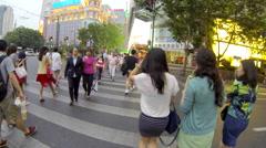Shanghai pedestrian crosswalk 2 24 fps Stock Footage