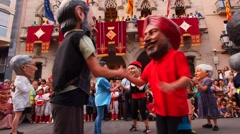 Big Head People Dance in Terrassa, Catalonia, Spain Stock Footage