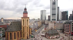 Skyline of Frankfurt with Hauptwache and the plaza Stock Footage