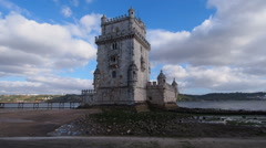 Tower of Belem in Lisbon Stock Footage