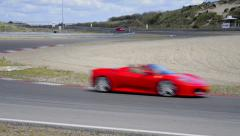 Ferrari track day, Various Ferrari sports cars Stock Footage
